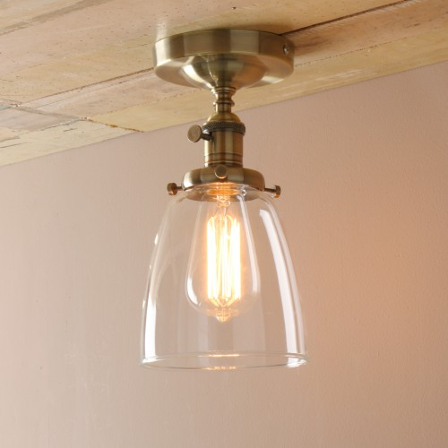 Edison Antique Industrial Flushmount Pendant Light Cloche Glass Lampshade