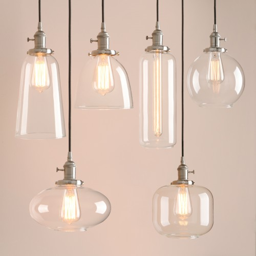 Retro Industrial Silver Brushed Ceiling Pendant Light Glass Lamp Shade