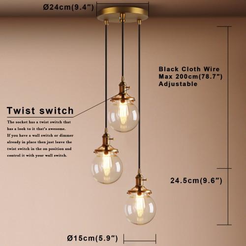 contemporary multi lights glass globe shade pendant light
