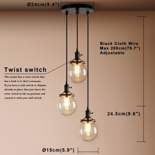 Contemporary Multi Lights Glass Globe Shade Pendant Light