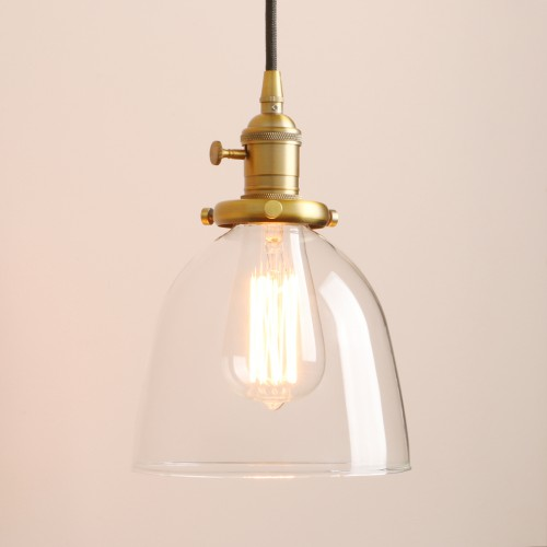 Retro Short Cloche Glass Shade Ceiling Pendant Light