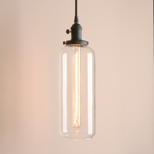 Vintage Style Long Tube Glass Lampshade Hanging Pendant Light