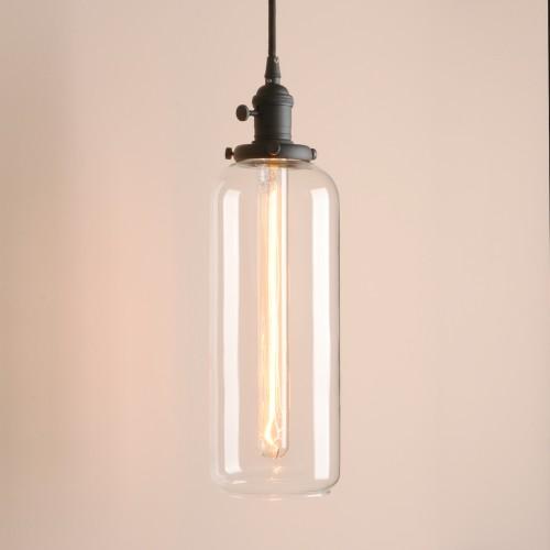 Vintage Style Long Tube Glass Lampshade Hanging Pendant Light