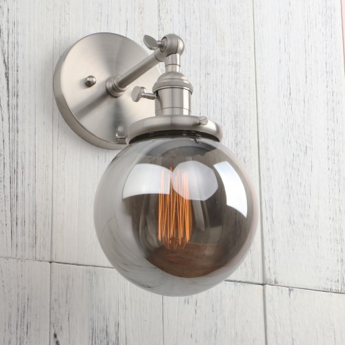 "5.9"" Globe Smokey Glass Shade Retro Industrial Wall Sconce"