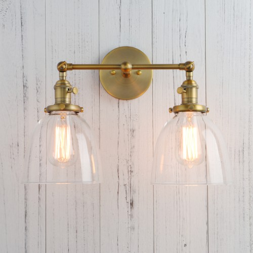 "6.7"" Bowl Shaped Glass Double Arm Vintage Industrial Sconce Wall Light"