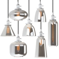 Retro Industrial Chrome Fitting Smoky Glass Lampshade Loft Ceiling Pendant Light