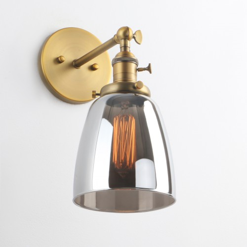 Industrial wall sconce 56 cloche smoky glass shade wall light retro industrial wall sconce 56 cloche smoky glass shade wall light mozeypictures Gallery