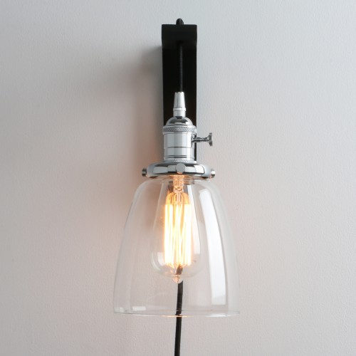 Retro Industrial Cloche Glass Lampshade Plug In Wall Light
