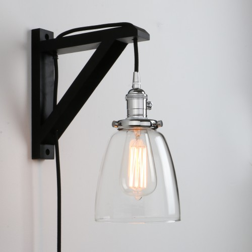 Retro Industrial Cloche Glass LampShade Plug In Wall Light Sconce Wooden Bracket