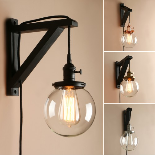 retro industrial globe glass lampshade plug in wooden bracket wall light sconce. Black Bedroom Furniture Sets. Home Design Ideas