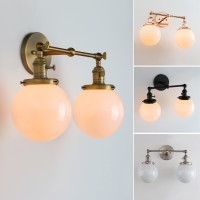"5.9"" White Globe Glass Vintage Industrial Loft Double Arm Wall Lamp Light Sconce Decor"