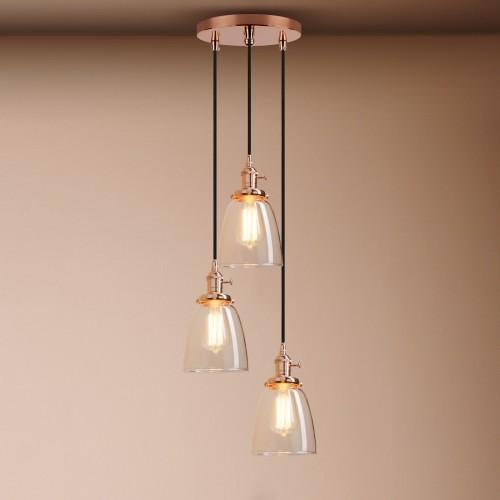 Cluster 3 Lamp Retro Industrial Cloche Glass Shade Loft