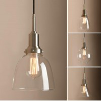 Retro Industrial Glass Ceiling Pendant Light with Pathson Unique Brushed Fitting