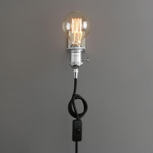 Vintage Industrial Hanging Light Antique Holder Plug In