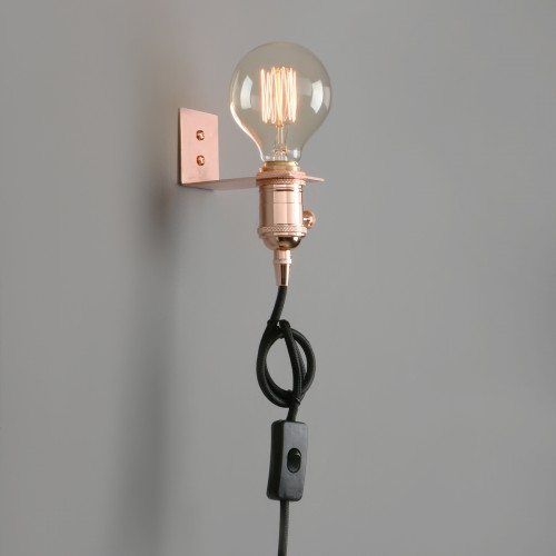 Vintage Industrial Hanging Light Antique Holder Plug In Wall Lamp Sconce
