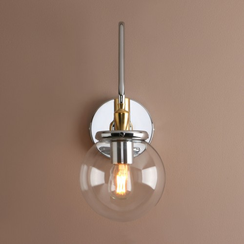 "Industrial Vintage 5.9"" Clear Glass Ball Shade Adjustable Wall Light"
