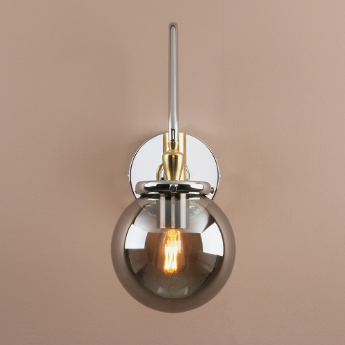 "5.9"" Industrial Vintage Smoky Grey Glass Ball Shade Adjustable Wall Light"