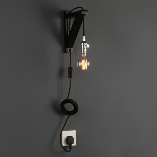 Retro Industrial Minimalist Bare Bulb Plug In Wall Light Sconce Wooden Bracket