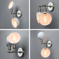 360 Rotating Retro Industrial Double Shades Sconce Adjustable UP DOWN Wall Lamp