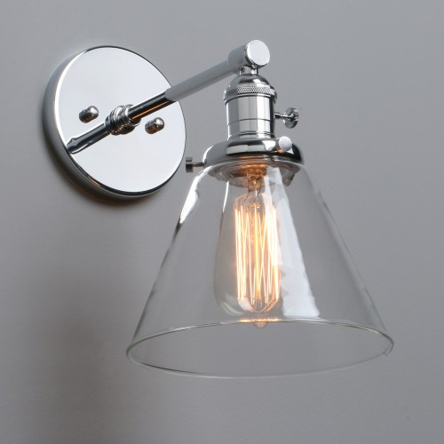 Industrial Vintage Wall Light UP DOWN Sconce Funnel Cone Glass LampShade