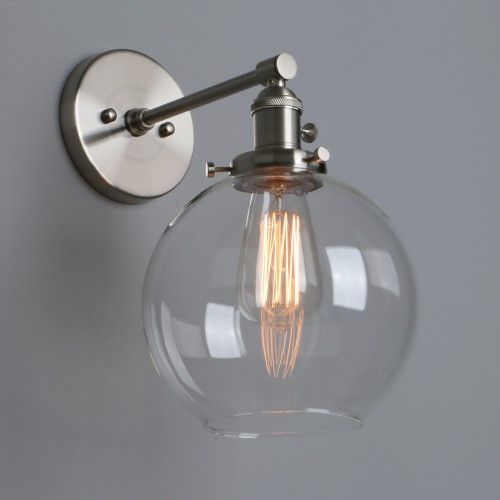 "7.9"" Retro Industrial Globe Clear Glass LampShade Up Down Wall Sconce"
