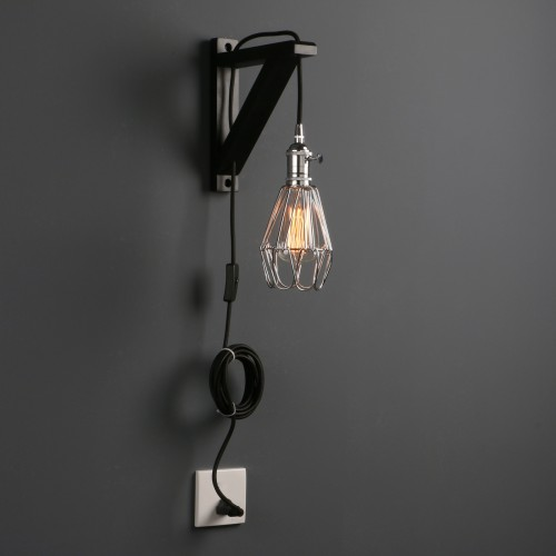 Iron Cage Wall Sconce Lamp Bedside Light Wood Bracket on/off Switch