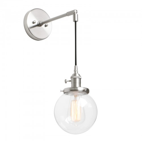 Retro Industrial Style Globe Clear Glass Wall Lamp Hanging Sconce Light