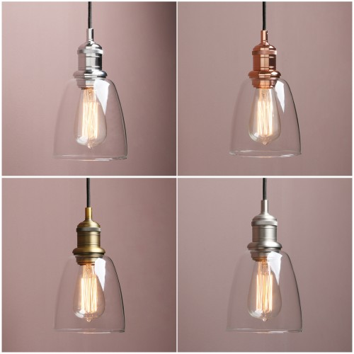 "5.6"" Retro Industrial Ceiling Pendant Light Loft Lamp Cloche Glass Shade Bathroom"
