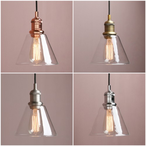 "7.3""Retro Industrial Ceiling Pendant Light Loft Lamp Funnel Glass Shade Bathroom"