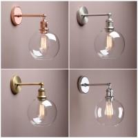 "7.9"" Vintage Industrial Bathroom Wall Lamp Sconce Globe Glass Shade Wall Light"