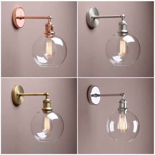 "7.9"" Vintage Industrial Bathroom Wall Lamp Sconce Globe Glass Shade Wall Light"