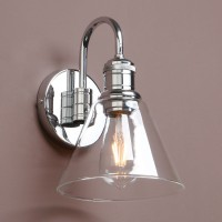 "7.3"" Retro Industrial Bathroom Wall Lamp Sconce Funnel Glass Shade Wall Lighting"