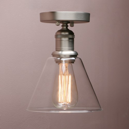 Retro Industrial Flushmount Pendant Light Funnel Glass Lampshade Copper Fitting