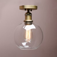 Retro Industrial Flushmount Pendant Light Globe Glass Lampshade Ceiling Light