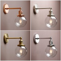 "5.9"" Vintage Industrial Bathroom Wall Lamp Sconce Globe Glass Shade Wall Light"