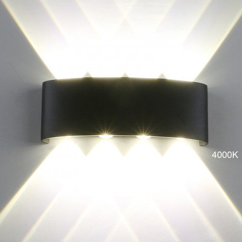 Pathson Modern Outdoor Wall Light 4000k 8 Leds Hallway Porch Wall Sconce Up Down Wall Lamp