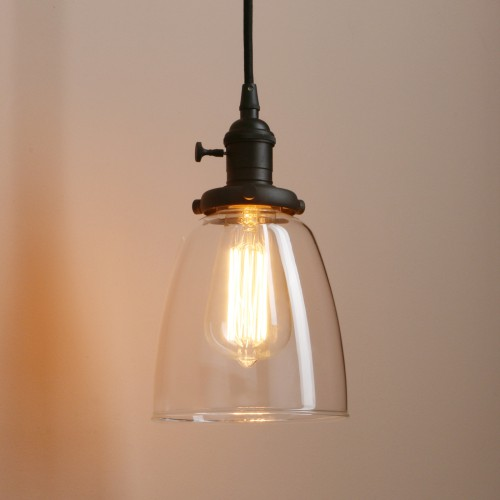 1-Light Vintage Mini Pendant Lighting with Clear Glass Shade for Dining Room