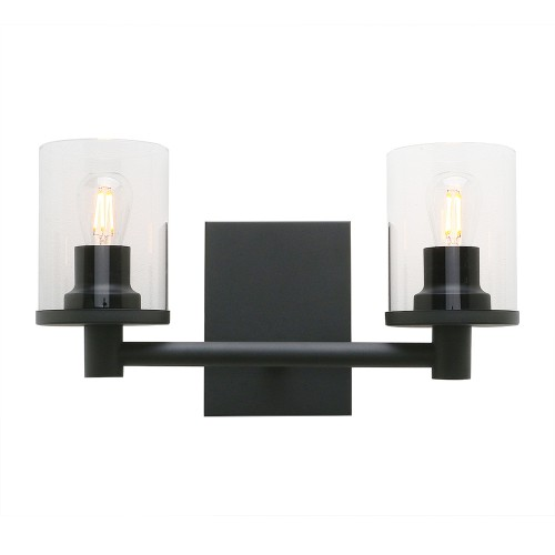 Pathson 2 Light Wall Sconce, Vintage Bathroom Wall Light Fixtures with Clear Glass Shade and Metal Base