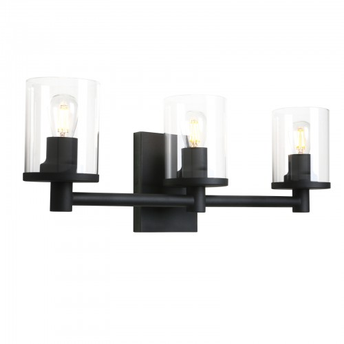 Pathson 3 Light Wall Light, Vintage Bathroom Vanity Light, Industrial Indoor Wall Sconce with Clear Glass Shade