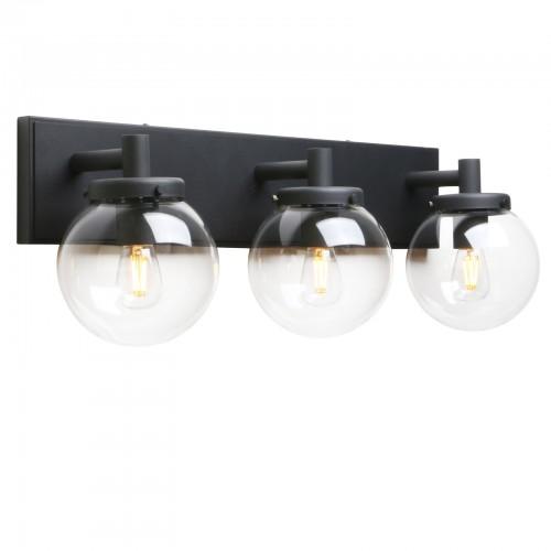 Pathson 3 Light Vintage Wall Sconce, Industrial Bathroom Vanity Light with Globe Glass