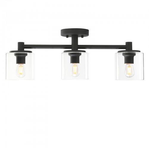 Pathson 3-Light Semi Flush Mount Ceiling Light, Industrial Ceiling Chandelier Pendant Lighting Fixture