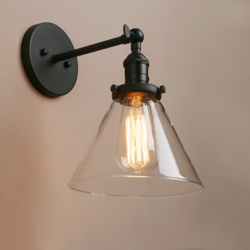 Wall Light Fixtures Industrial Indoor Sconce With Funnel Clear Glass
