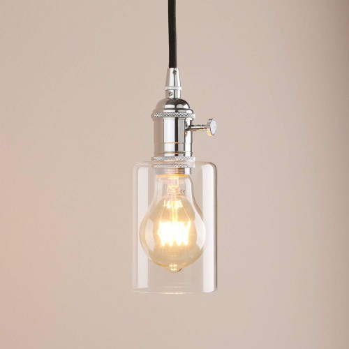 Industrial Pendant Light  Mini Vintage Ceiling Light Fixture Flush Mount with Adjustable Textile Cord