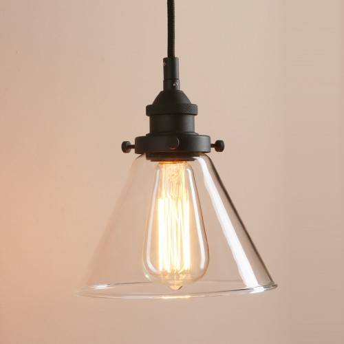 Retro Pendant Lighting with Clear Glass Shade and Metal Base Cap for Bedroom