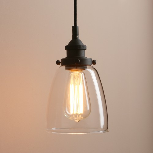 Retro Kitchen Pendant Lighting Industrial Small Hanging Light with Clear Glass and Textile Cord