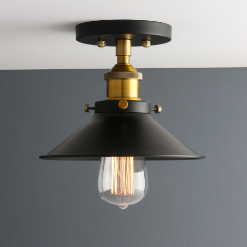 Retro Edison Flushmount Lighting Metal Lamp