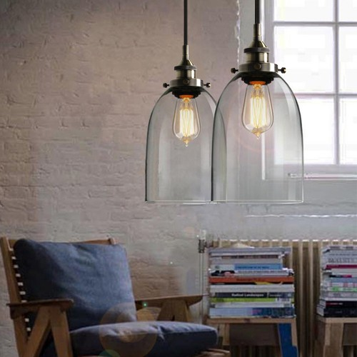 Industrial Vintage Pendant Light Edison Loft Chandelier Lamp with Clear Glass