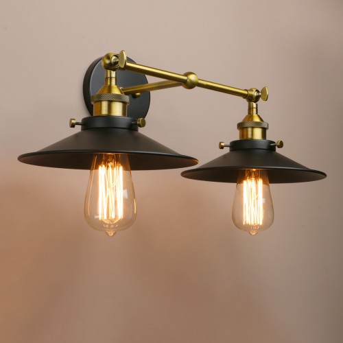 Industrial Wall Sconce 2 Light Bathroom Light Fixtures Mid Century Lamps  For Living Room