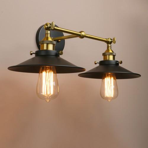 Mid Century Bathroom Light Fixtures: Industrial Wall Sconce 2-Light Bathroom Light Fixtures Mid