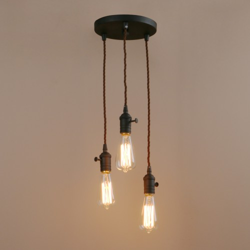 Industrial Mini Pendant with 3 Lights Adjustable Vintage Simple Home ...